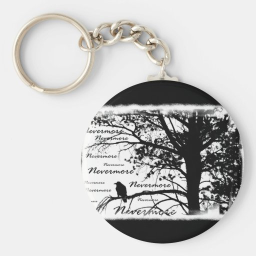 B&W Nevermore Raven Silhouette Keychain