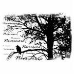 B&W Nevermore Raven Silhouette Photo Cutout