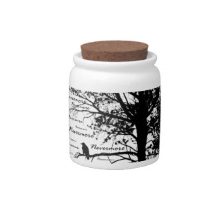 B&W Nevermore Raven Tree Silhouette - E.A. Poe Candy Dishes