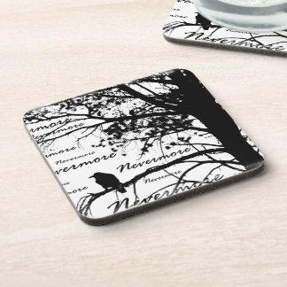 B&W Nevermore Raven Tree Silhouette - E.A. Poe Coaster