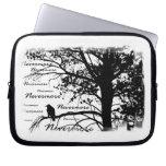 B&W Nevermore Raven Tree Silhouette - E.A. Poe Laptop Sleeves