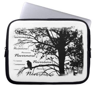 B&W Nevermore Raven Tree Silhouette - E.A. Poe Laptop Sleeve