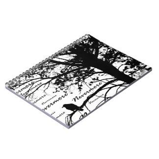 B&W Nevermore Raven Tree Silhouette - E.A. Poe Spiral Note Books
