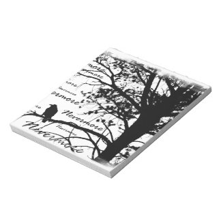 B&W Nevermore Raven Tree Silhouette - E.A. Poe Notepad