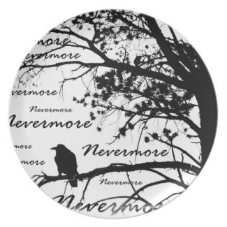B&W Nevermore Raven Tree Silhouette - E.A. Poe Dinner Plate