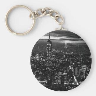 B&W New York City at Night Keychain
