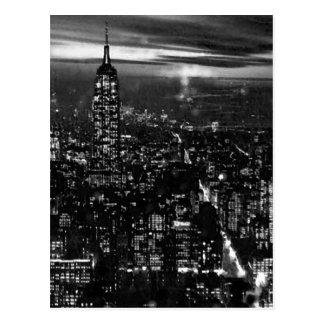 B&W New York City at Night Postcard