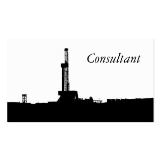 B/W Oil Drilling Rig Silhouette Business Card