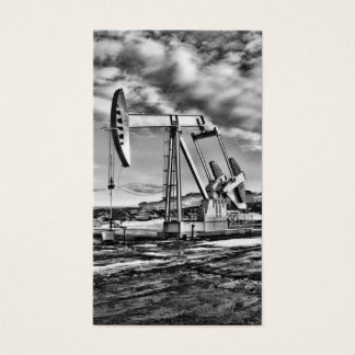 B/W Oil Well Pumping Unit (Gold Look) Business Card
