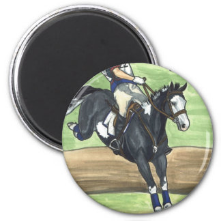 B&W Paint Horse XC into water Eventing 2 Inch Round Magnet