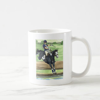 B&W Paint Horse XC into water Eventing Coffee Mug