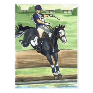 B&W Paint Horse XC into water Eventing Postcard