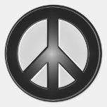 B&W peace sign Classic Round Sticker