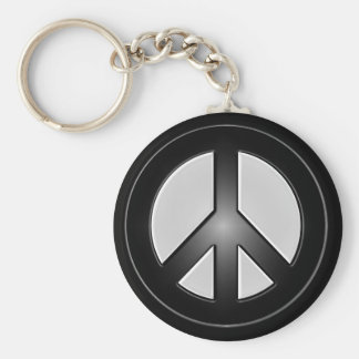 b&w peace sign basic round button keychain