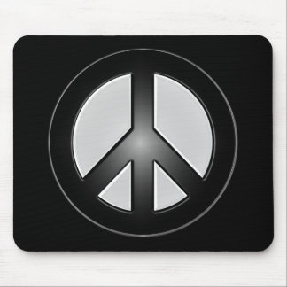 B&W Peace Sign Mouse Pad