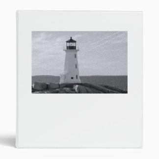 B&W Peggy's Cove Lighthouse Vinyl Binder