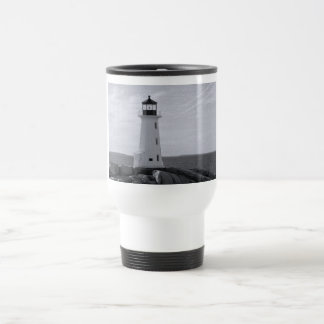 B&W Peggy's Cove Lighthouse Travel Mug