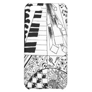 B&W Piano Doodle Original Artwork by Ester A. Cover For iPhone 5C