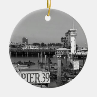 B&W Pier 39 Sea Lions Double-Sided Ceramic Round Christmas Ornament