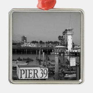 B&W Pier 39 Sea Lions Square Metal Christmas Ornament