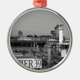 B&W Pier 39 Sea Lions Round Metal Christmas Ornament