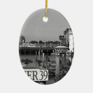 B&W Pier 39 Sea Lions Double-Sided Oval Ceramic Christmas Ornament