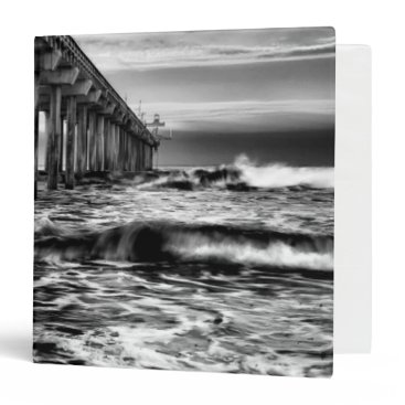 USA Themed B&W pier at dawn, California 3 Ring Binder