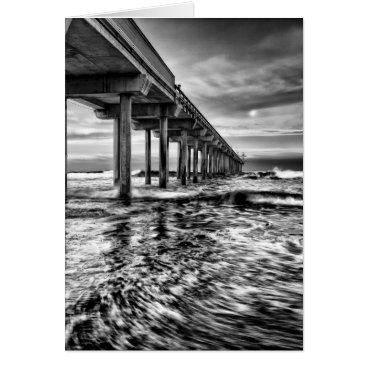 USA Themed B&W pier at dawn, California Card