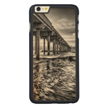 USA Themed B&W pier at dawn, California Carved Maple iPhone 6 Plus Slim Case
