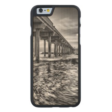 USA Themed B&W pier at dawn, California Carved Maple iPhone 6 Slim Case