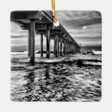 USA Themed B&W pier at dawn, California Ceramic Ornament