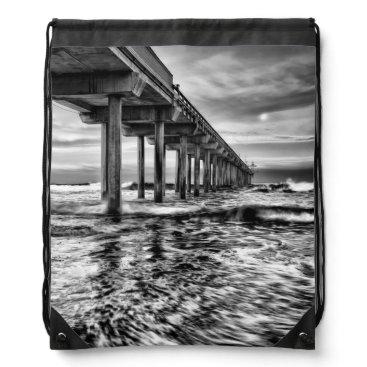 USA Themed B&W pier at dawn, California Drawstring Bag