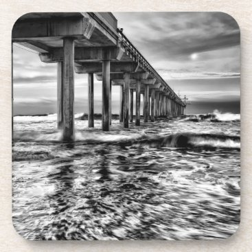USA Themed B&W pier at dawn, California Drink Coaster