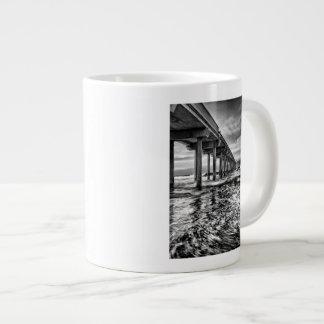 B&W pier at dawn, California Giant Coffee Mug