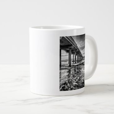 USA Themed B&W pier at dawn, California Giant Coffee Mug