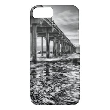 USA Themed B&W pier at dawn, California iPhone 7 Case