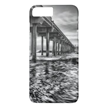 USA Themed B&W pier at dawn, California iPhone 7 Plus Case