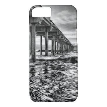 USA Themed B&W pier at dawn, California iPhone 8/7 Case