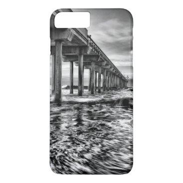 USA Themed B&W pier at dawn, California iPhone 8 Plus/7 Plus Case