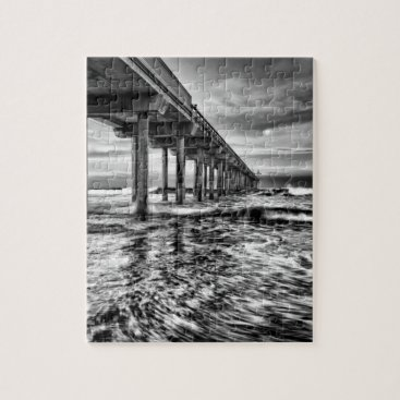 USA Themed B&W pier at dawn, California Jigsaw Puzzle