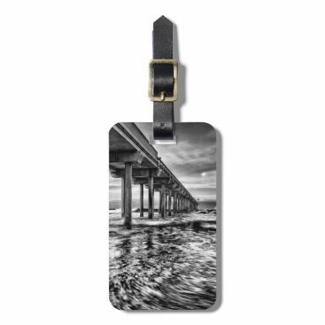 USA Themed B&W pier at dawn, California Luggage Tag