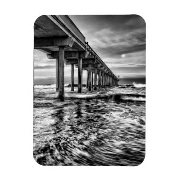 USA Themed B&W pier at dawn, California Magnet