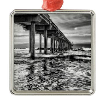 USA Themed B&W pier at dawn, California Metal Ornament