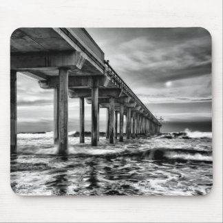 B&W pier at dawn, California Mouse Pad