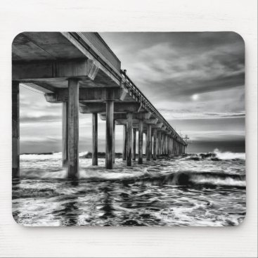 USA Themed B&W pier at dawn, California Mouse Pad