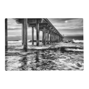 USA Themed B&W pier at dawn, California Placemat