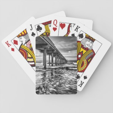 USA Themed B&W pier at dawn, California Playing Cards