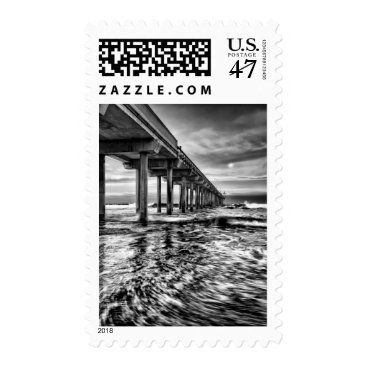 USA Themed B&W pier at dawn, California Postage