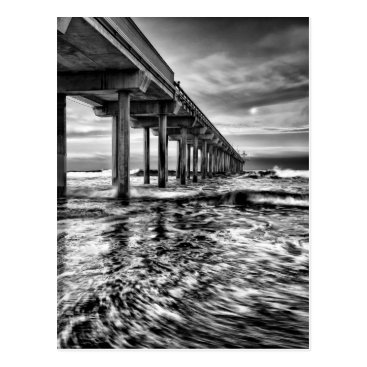USA Themed B&W pier at dawn, California Postcard