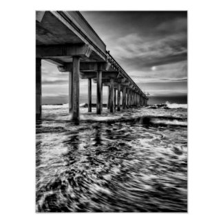 B&W pier at dawn, California Poster